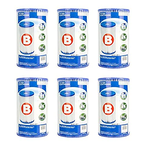 Full Case of 6 Intex Brand Type B Pool Filter Cartridges - For Intex Model 51, 633, 633T, 621, 520, 520R, 530, 530R, CS8111 & 8111 Filter - Intex Swimming Pool Filter