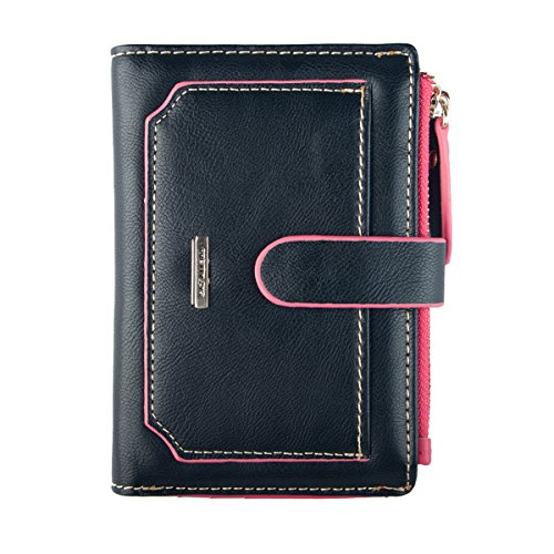 INDRESSME Womens Wallet Candy Color Bifold Mini Vintage Card Holder Wallet (Black) (Gift Card Holder Wallet Vintage)