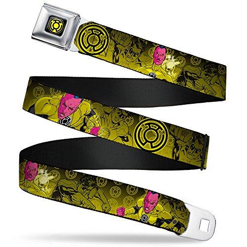 Buckle-Down Seatbelt Belt - Sinsestro Poses & Logo/Green Lantern Poses Black-Yellow Fade - 1.0