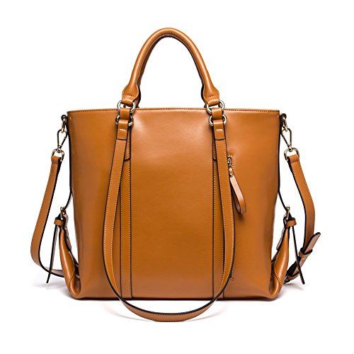 BOSTANTEN 3-Way Women's Leather Designer Handbags Tote Shoulder Cross-body Bag Brown