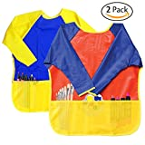 Attmu 2 Pack Kids Art Smocks, Children Waterproof Artist Painting Aprons Long Sleeve with 3 Pockets for Age 2-6 Years
