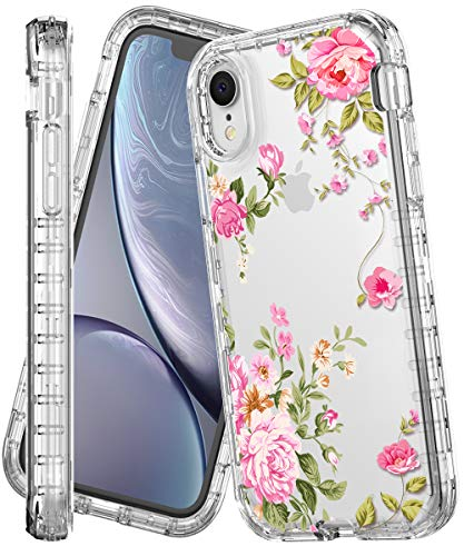 iPhone XR Case,IN4U Shockproof 3 Layers Full Body Flower Design Girly Protective Cover for iPhone XR [6.1 INCH] Case (Pink Floral)