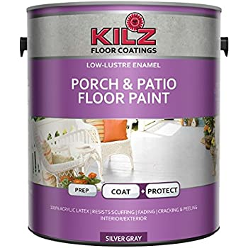 Kilz Interior Exterior Enamel Porch Patio Latex Floor Paint Low Lustre Silver