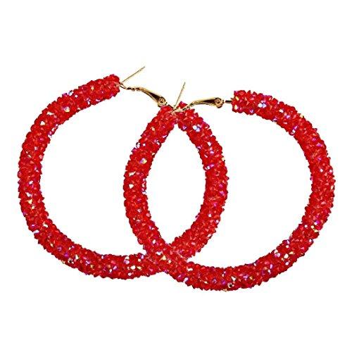 Red Circular Earring - Women Girls Fashion Shining Round Circular Earrings Hoop Earrings Ear Clip Jewelry Gift (Red)