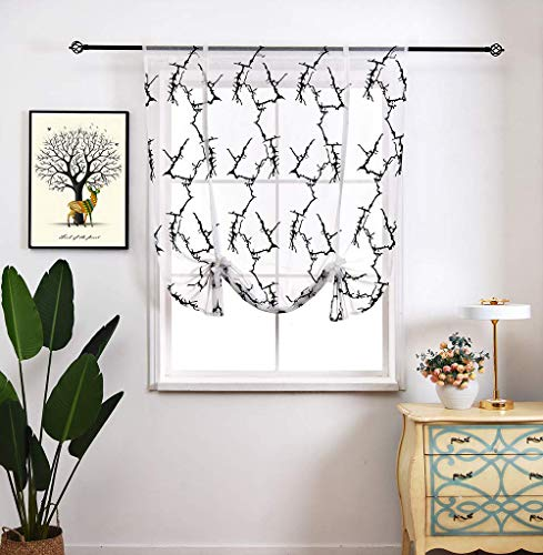 Tie Up Curtain Black Embroidered Cotton Linen Window Treatments Sheer Balloon Tie Up Shades Short Drapes Valance European Style for Small Window,Kitchen,Bedroom,Living Room,Nursery Room,39W x - Cotton Drapes Valance