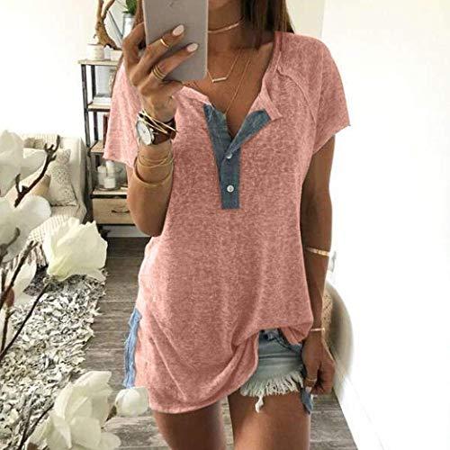 con Bluse Tops 2XL Casual Targogo Button Collo Rotondo Pink Maglietta Costume Color Festa Donne Camicetta 08 Sciolto Corta Tunica Manica Base Estivi Eleganti Donna Size Shirt HRYH4w