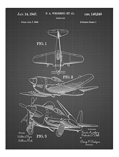 JP London Solvent Free Print PAPJSG43 Dual Propeller War Plane Retro Dog Fight Vintage Black Grid Poster Patent Art at 24