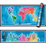 """Scratch Off Map of The World Poster & Skyline Art - A Novel Travel Gift for Globe Travelers - 36x30"""" Panoramic Design Wall Decor with 32 Scratchable Iconic Buildings"""