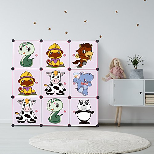 LANGRIA Kids' Closet Wardrobe dresser Storage Toy Organizer Portable for Children, Pink, 9 Cubes+1 Hanging Section