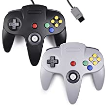 2xClassic 64 N64 Controller,kiwitata Retro Wired Game Controller Joystick for N64 Console Nintendo 64 System Black+Gray