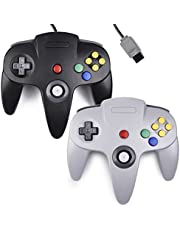 2xClassic N64 Controller,kiwitata Retro Wired Game Controller Joystick for N64 Console Video Games System Black+Gray