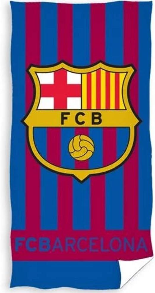Barcelona FC - Toalla Playa Rayas con Escudo Barcelona FC 70 x 140 cm.: Amazon.es: Hogar