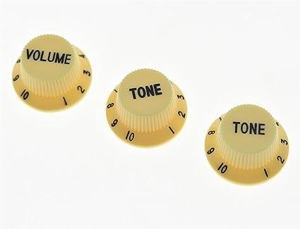 kaish crema con letras de color negro St guitarra botones de volumen y tono perillas para