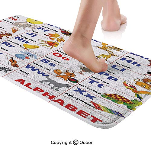 Educational Rug Runner,Animals Placed on Letter of The Alphabet Teachers Chart Classroom Kindergarten,Plush Door Carpet Floor Kitchen Decor Mat with Non Slip Backing,48 X 17.7 Inches,Multicolor]()