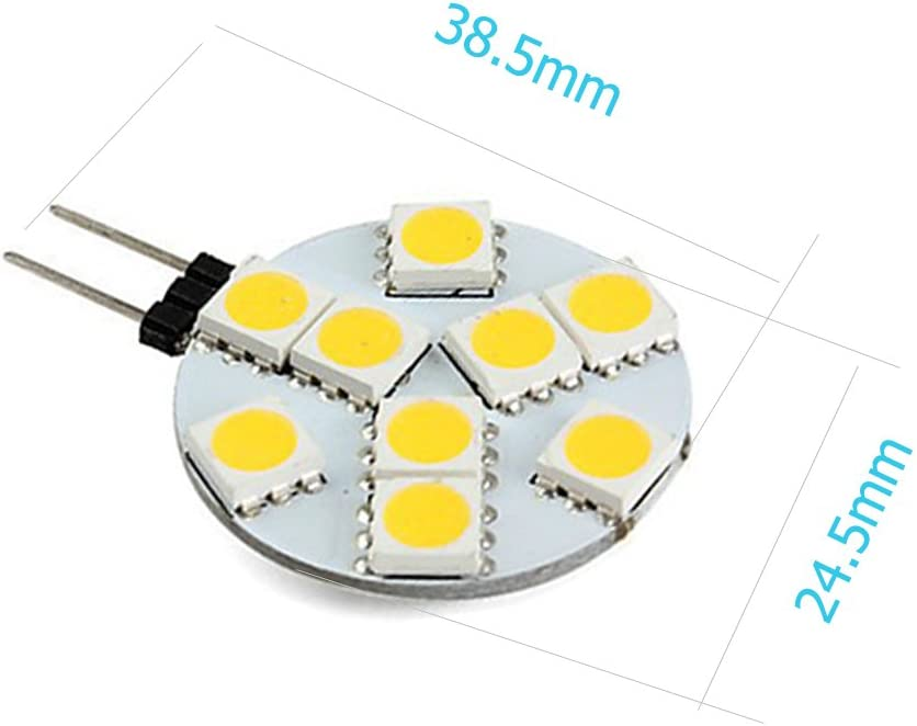 EverBrightt 12-Pack Warm White Round G4 5050 6SMD Marine RV Reading Car Led Light Bulbs Boat Lamps DC 12V