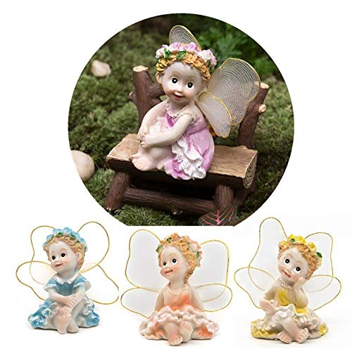 dezirZJjx Mini Micro Landscape,4Pcs/Set Fairy Garden DIY Flower Angels Ornament Miniature Decor Resin Figurines- Best Indoor Outdoor Decorations for Patio Yard Office and House