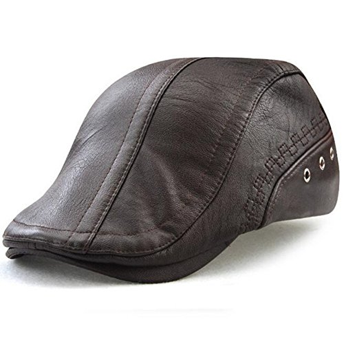 GESDY Men's Vintage Newsboy Cap PU Leather Ivy Flat Gatsby Hat Winter Golf Driving Hats Beret Caps (Coffee)