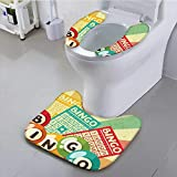 Bathroom Contour Rugs Bingo Game with Ball and Cards Pop Art Stylized Lottery Hobby Celebration Theme Health is Convenient