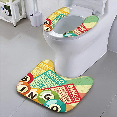 Bathroom Contour Rugs Bingo Game with Ball and Cards Pop Art Stylized Lottery Hobby Celebration Theme Health is Convenient by aolankaili