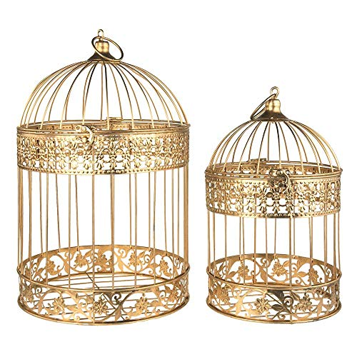 "LACrafts - Metal Bird Cage Centerpiece, 2-Piece (17"" & 13"" Height, Gold)"