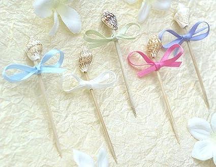 amazon com seashell toothpicks 100 per pack kitchen dining