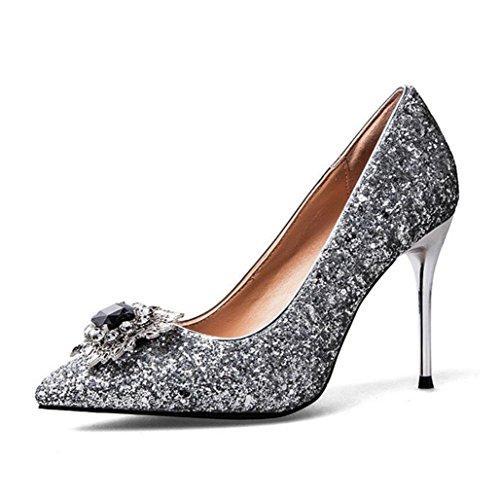 Chaussures Femmes Wsk Chaussures À Talons Pointes Peu Profondes Brillent Paillettes De Diamant Noir Sexy Chaussures Minces Talons Hauts Chaussures De Mariage Chaussures De Soirée Argent
