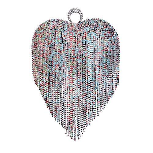 Coloré Multicolore Main Pochette Bourse Coeur Diamant Fête De Sac à Mariage Peach Gland Prom Sac Forme Clutch D'embrayage Femme En Soirée HqRS0wU