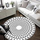 LG-Rug Carpet Modern personality cartoon geometric circular living room carpet mat (Color : Gray, Size : 120cm(47.24in))