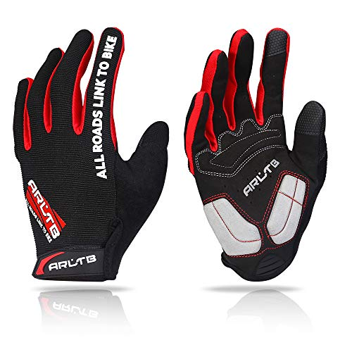 (Arltb Winter Bike Gloves 3 Size 3 Colors Bicycle Cycling Biking Gloves Mitts Full Finger Pad Breathable Lightweight for Bike Riding Mountain Bike Motorcycle Free Cycle BMX Lifting Fitness Climbing)