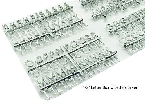 Letter Board Supplement. Letter Board Letters, Set of 188 Characters Including Numbers, Symbols for Plastic and Felt Letter Boards Accessories (Silver 1/2