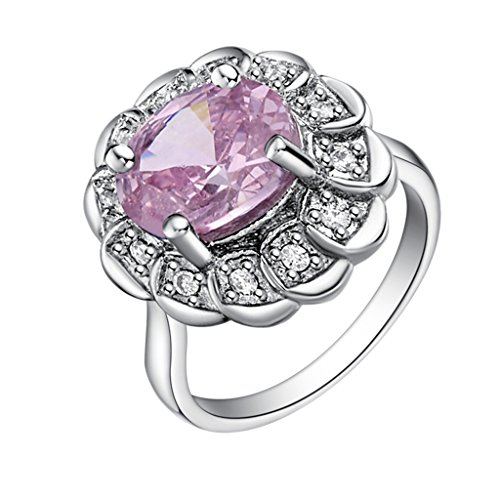 Epinki, 18k White Gold Plated Fashion Jewelry Rings Round Flower Rings Size 8 ()