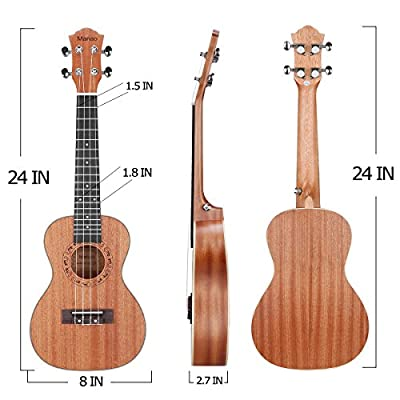Manao Concert Ukelele 23 Inch Ukulele Starter Pro Wooden Beginner Ukalelee Instrument with Gig Bag