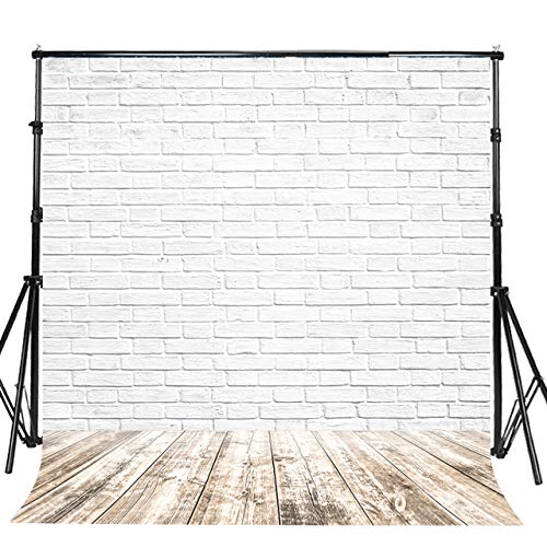 Sensfun 10x10ft Vinyl 3D White Brick Wall Photography Backdrops for Wedding Sweet 16 Birthday Halloween Party Decoration Faux Wood Floor Photo booth Background Portrait Photo Shoot Studio Prop (WP041)