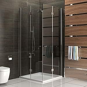 Cabina de ducha esquinera, sin marco cristal puerta giratoria mampara de 90x 90x 200cm ducha completa de cristal de seguridad Alpenberger, modelo Quadri transparente, altura aprox. 200cm mampara ducha pared
