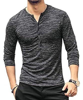MLANM Mens Casual Slim Fit Basic Henley Long Sleeve Fashion T-Shirt