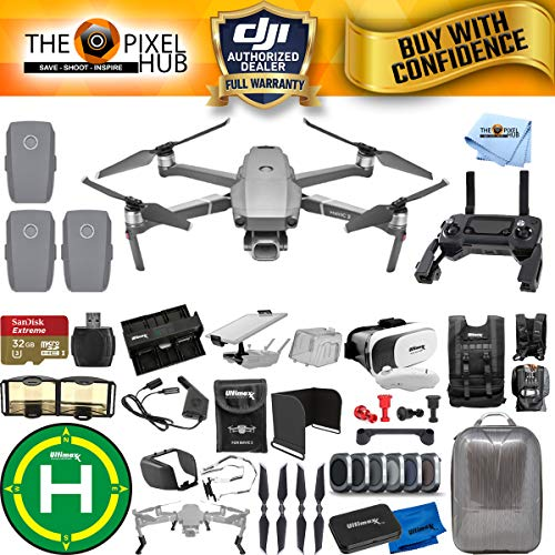 DJI Mavic 2 Pro 3 Battery (Total) MEGA Accessory Bundle with Hardshell Backpack, Drone Vest, 32GB Micro SD, VR Goggles, Charging Hub, Filter Kit, Landing Pad + Much More ()