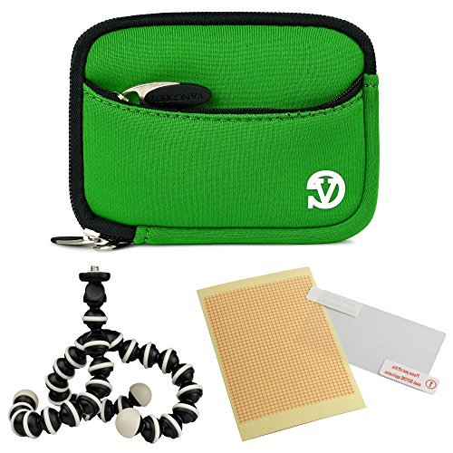 VanGoddy Mini Glove Sleeve Pouch Case for Leica C-LUX 3 V-Lux 20 Leica C (Typ112) Digital Cameras (Green Black Trim) + Screen Protector + Mini Tripod Stand