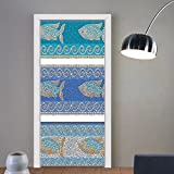 Gzhihine custom made 3d door stickers Mosaic Decor Ancient Style Byzantine Ceramics Inspired Marine Fractal Fish Pattern Artwork Slate Blue For Room Decor 30x79