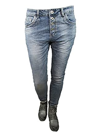 Jewelly Karostar Boyfriend Jeans Hose Damen 36 38 40 42 tolle Knopfleiste Neu