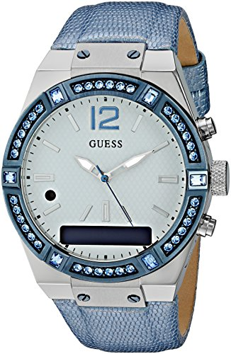 GUESS-Womens-CONNECT-Smartwatch-with-Amazon-Alexa-and-Genuine-Leather-Strap-Buckle-iOS-and-Android-Compatible-Blue