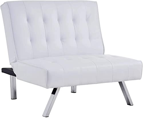 Homegear Split Back PU Leather Accent Chair/Flat Recliner White