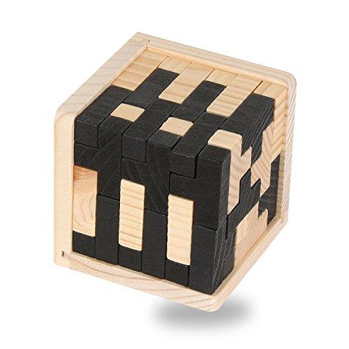 USATDD 3D Wooden Brain Teaser 54 T-shaped Tetris Blocks Geometric Intellectual Jigsaw Logic Puzzle Educational Toy