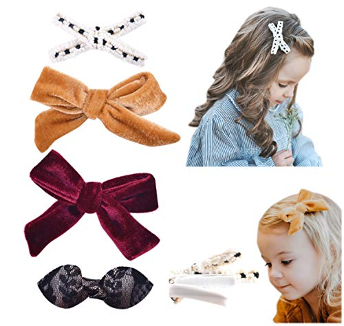 California Tot Premium Faux Leather Bow Hair Clips for Toddler, Girls, Mixed Set of 4 or 6 (Luxe Clip set of 4)