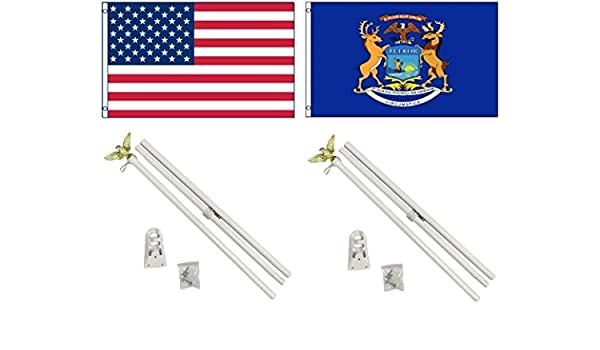 3x5 USA American /& State of Michigan Flag /& 2 Aluminum Pole Kit Sets 3/'x5/'