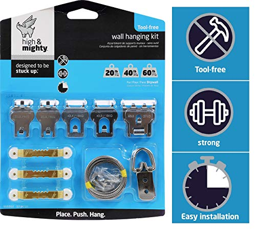 HIGH & MIGHTY 515312 Tool Free Picture Hanging Kit, 13 Pieces, up to 60LB Limit, Silver from HIGH & MIGHTY