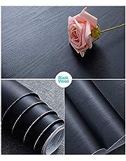 Black Wood Self Adhesive Paper Decorative Self-Adhesive Film Furniture Real Wood Tactile Sensation Surfaces Easy to Clean