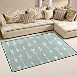 ALAZA Soft Area Rug,Mint Green Tribal Pattern Arrows Floor Rug Non-Slip Doormat for Living Dining Dorm Room Bedroom Decor 60x39 Inch