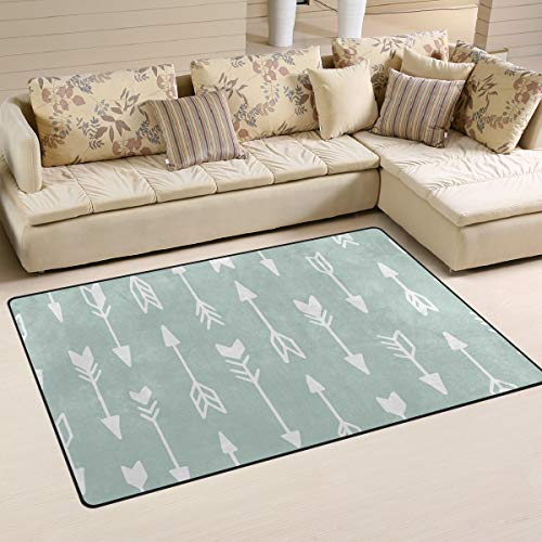 ALAZA Soft Area Rug,Mint Green Tribal Pattern Arrows Floor Rug Non-Slip Doormat for Living Dining Dorm Room Bedroom Decor 60x39 Inch
