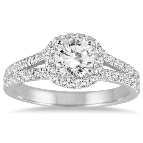 AGS Certified 1 1/4 Carat TW Diamond Engagement Ring in 14K White Gold (J K Color, I2 I3 Clarity)
