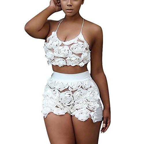 Dreamparis Women's Lace Floral 2 Pieces Outfit Halter Neck Crop Top+Shorts Set ()